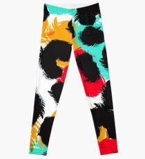 Leopard watercolor spots. Wildlife animal skin design. Leggings