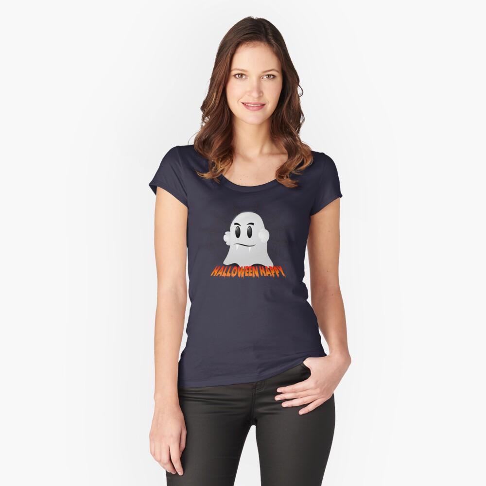 Happy Halloween-Geist Tailliertes Rundhals-Shirt