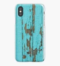 The texture of old wood with paint peeling off. Old wall. Aqua wall. iPhone Case/Skin