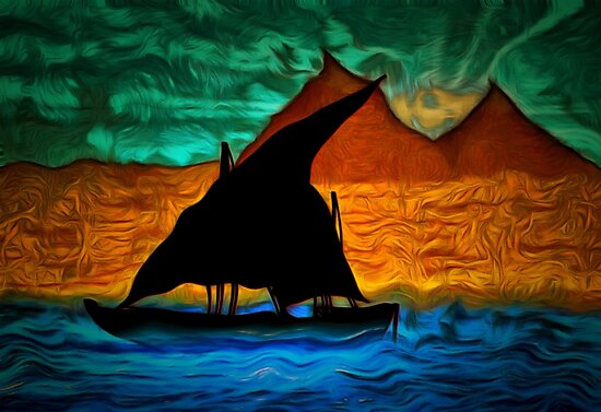 An abstract view of an Egyptian Dhow on the River Nile in the 19th century by Dennis Melling