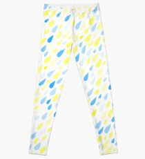 Rainy Day Pattern. Blue and yellow on white Leggings