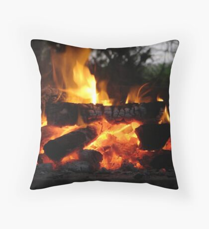 Good old South African braai fire Throw Pillow