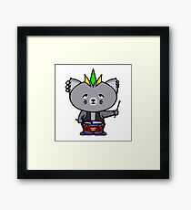 Punk Cat Playing Drums Framed Print