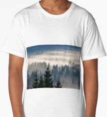 coniferous forest in foggy mountains Long T-Shirt