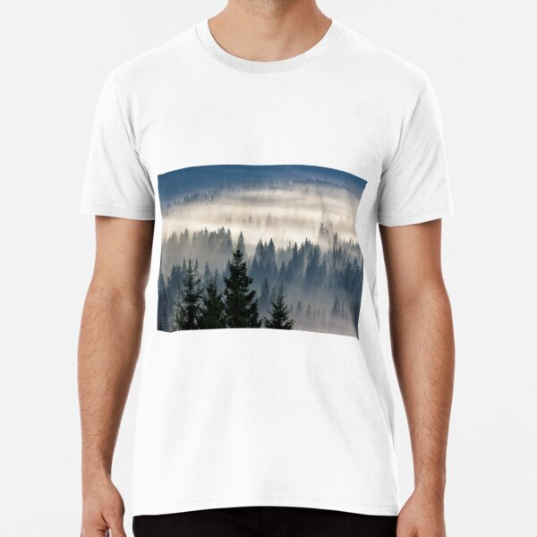 coniferous forest in foggy mountains Premium T-Shirt
