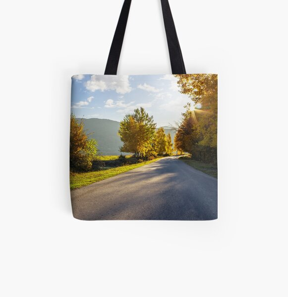 road going to mountains All Over Print Tote Bag
