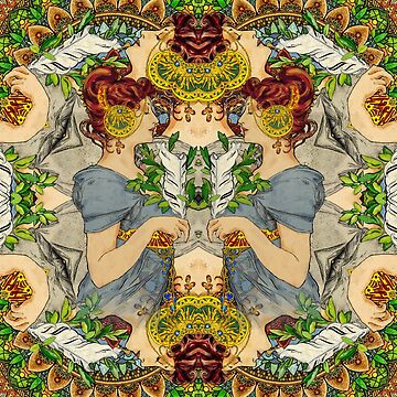 Alphonse Mucha The Feather mandala by Superlicious