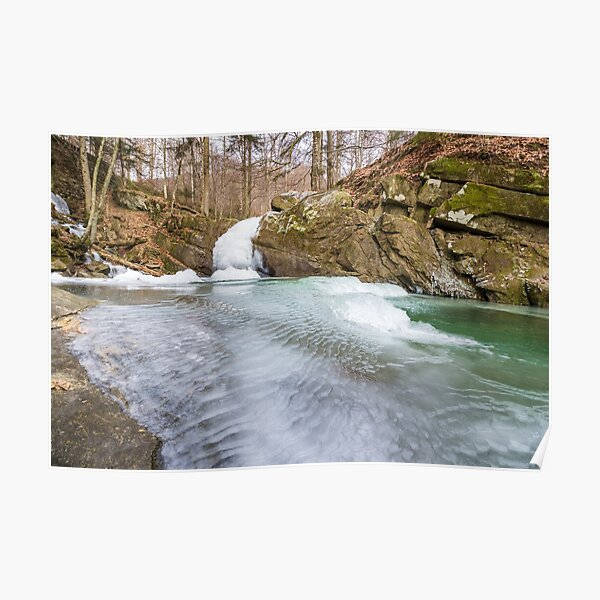 frozen waterfall in forest Poster