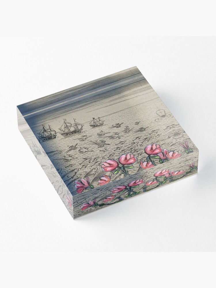 Alternate view of Woman Watching Sea Creatures Acrylic Block