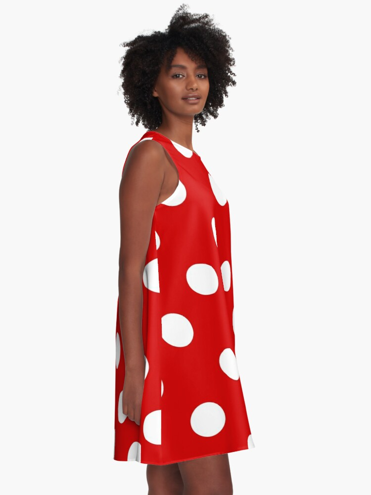 Alternate view of Red and White polka dots   Halloween Outfit A-Line Dress