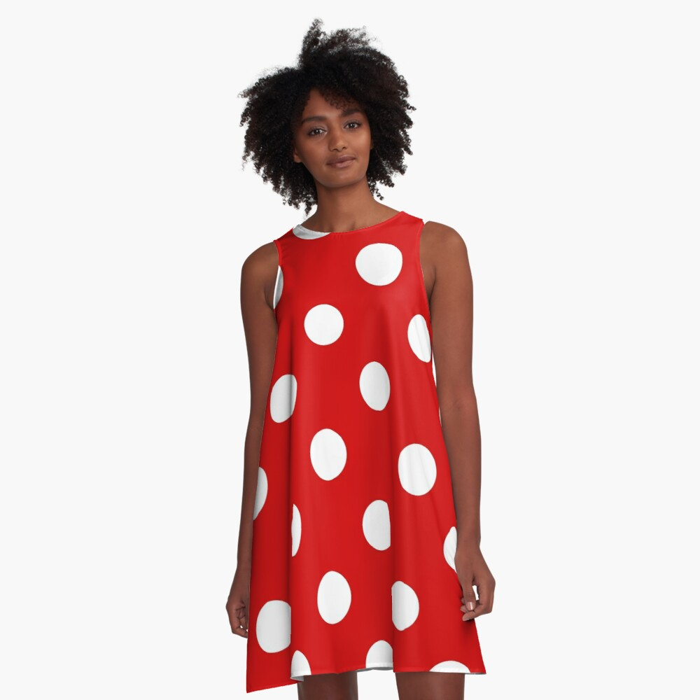 Red and White polka dots   Halloween Outfit A-Line Dress