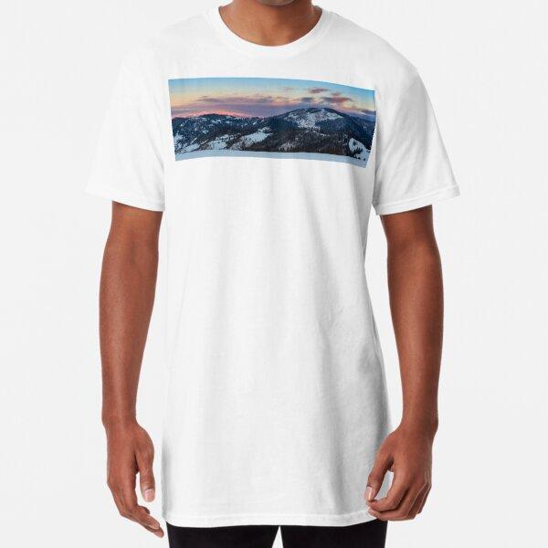 mountainous area  on winter sunrise Long T-Shirt