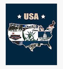USA, America - Map / Landkarte, Amerika Photographic Print