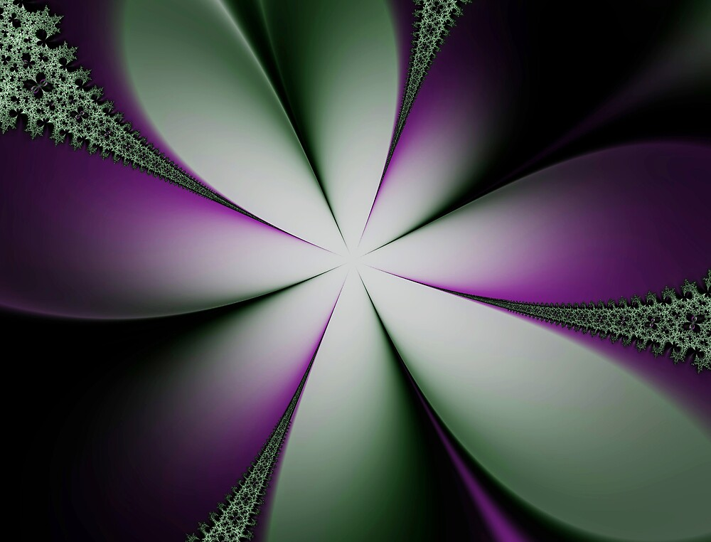 Purple and Green Flowers by LisaEwingArt