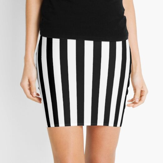 Black and White Vertical Stripes | Classic Cabana Stripe Mini Skirt