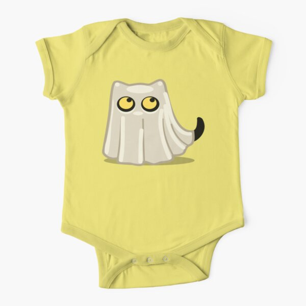 Cute Ghost Cat for Babies and Kids! Short Sleeve Baby One-Piece
