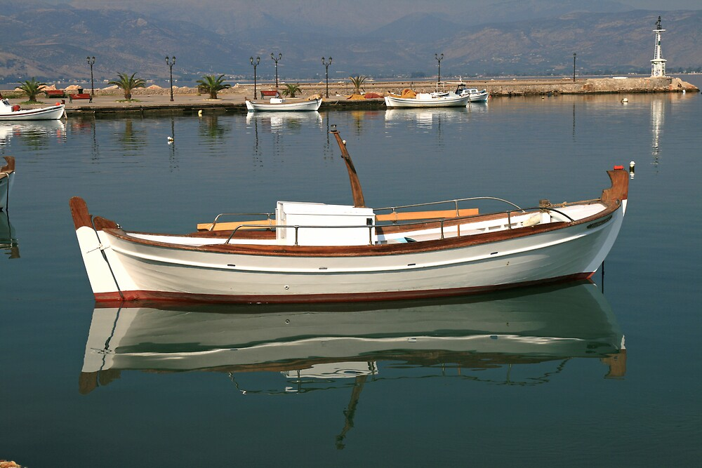 Boat reflection in Nafplion Harbour by DRWilliams