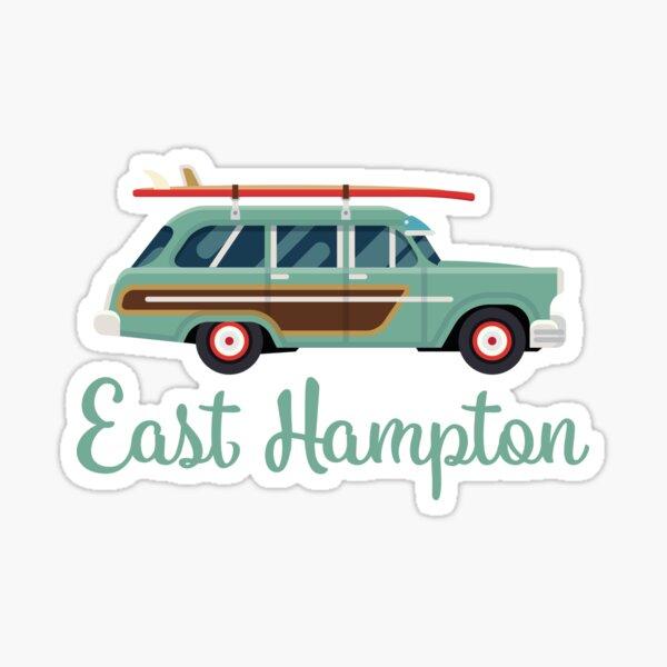 East Hampton, NY Retro Surf Wagon Sticker