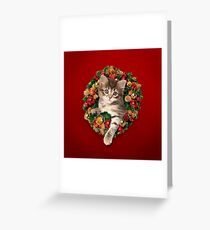 Cute kitten sitting in a Christmas wreath Greeting Card