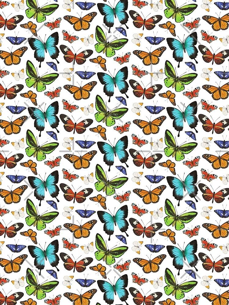 Colourful Butterflies Pattern by HazelFisher