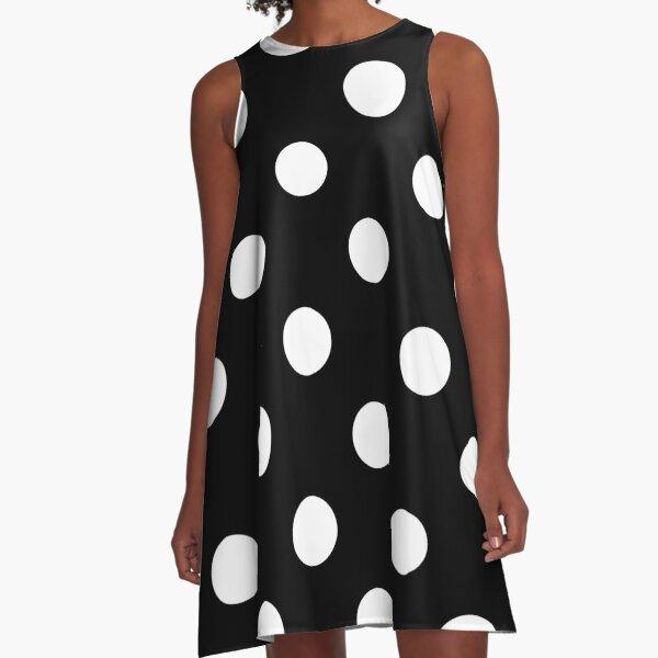 white polka dots on black | Pattern  A-Line Dress