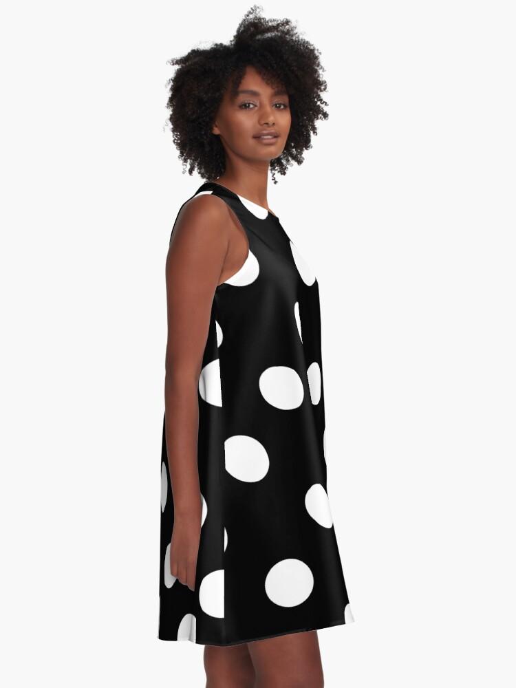 Alternative Ansicht von weiße Punkte auf schwarz | Muster A-Linien Kleid