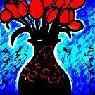 Vase of Red Roses, series by rose loya