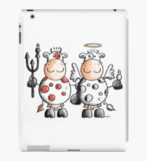 Angel and devil cow - Comic - Gift - Funny - Animals iPad Case/Skin