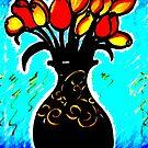 Vase of Orange Roses, series by rose loya