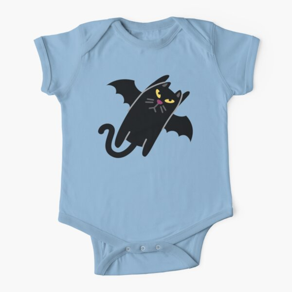 Cute Halloween Bat Cat for Babies and Kids! Short Sleeve Baby One-Piece