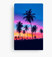 Night Light Palm Tree Print Canvas Print