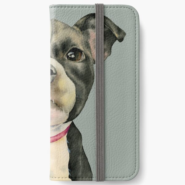 Puppy Eyes | Cute Pit Bull Watercolor Portrait iPhone Wallet