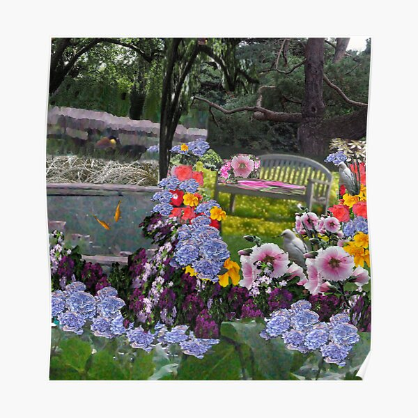 The Hidden Garden...Bright and Cheery...A place to contemplate nature's beauty. Poster
