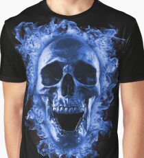 Skull in blue fire  Graphic T-Shirt