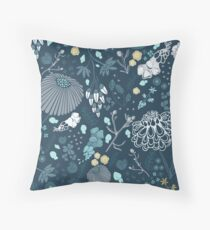 Field of Flowers in Blue and White Floor Pillow
