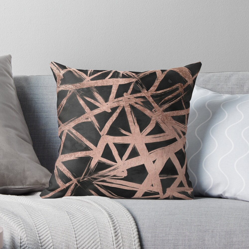 Handdrawn faux rose gold brushstrokes modern stripes triangles pattern Throw Pillow