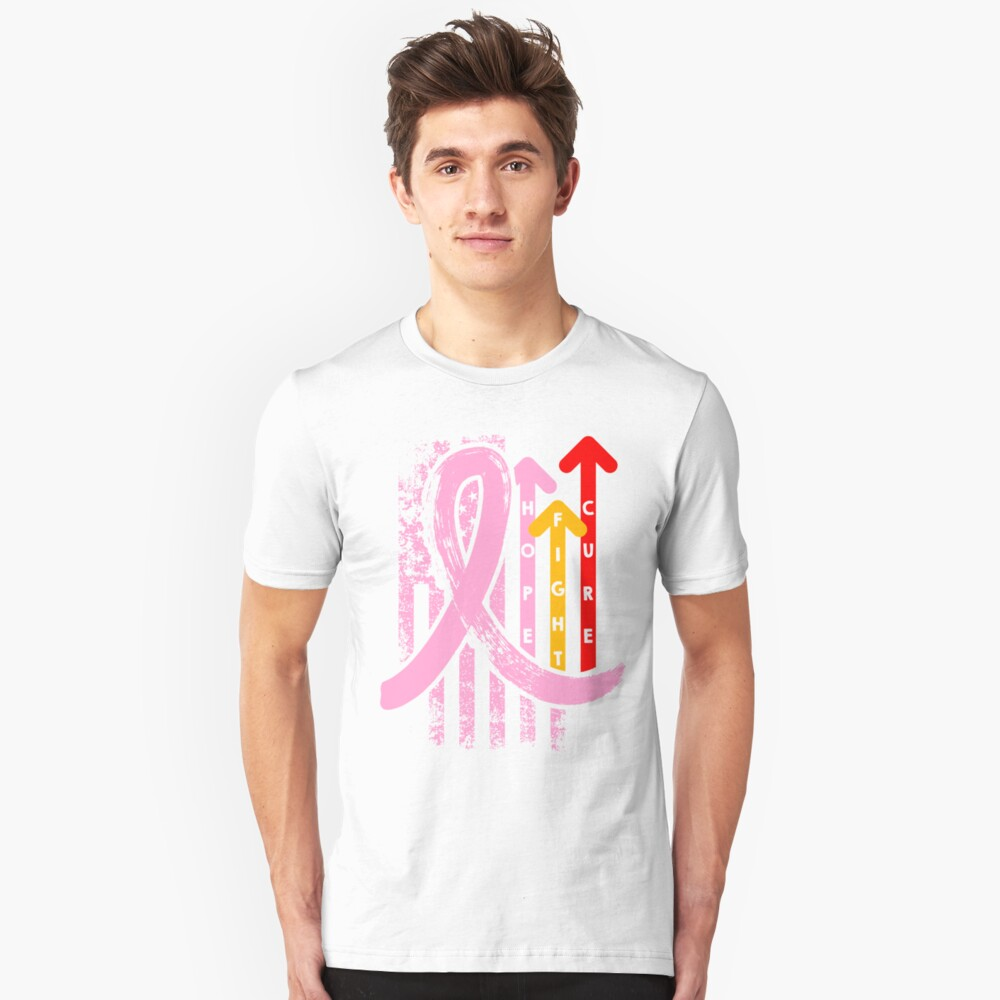 Vintage Retro colors Pink Ribbon Breast Cancer hope fight cure Unisex T-Shirt Front
