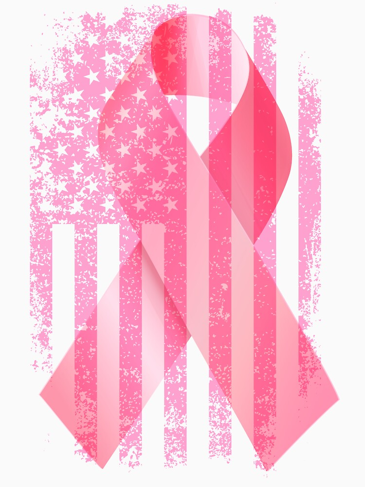 Vintage Retro colors Pink Ribbon Breast Cancer hope fight cure by bestdesign4u