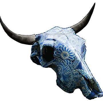 Relaxing Blue & White Drawings Cow Skull Design v.7  by GLOBEXIT