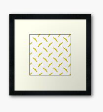 Yellow Ribbons Seamless Pattern on White. Banner Background. Framed Print