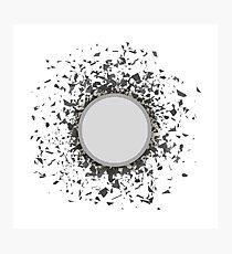 Grey Confetti Round Banner Isolated on White Background. Set of Particles. Photographic Print