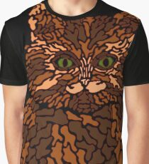 Camo Kitty - Natural Brown Graphic T-Shirt