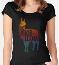 No Prob-llama Fynny Llama, Love LLamas Women's Fitted Scoop T-Shirt