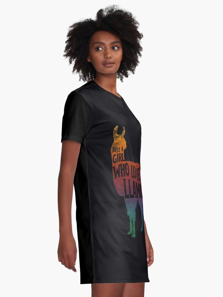 Alternative Ansicht von Mädchen, das Llamas, Lama-Liebhaber liebt T-Shirt Kleid