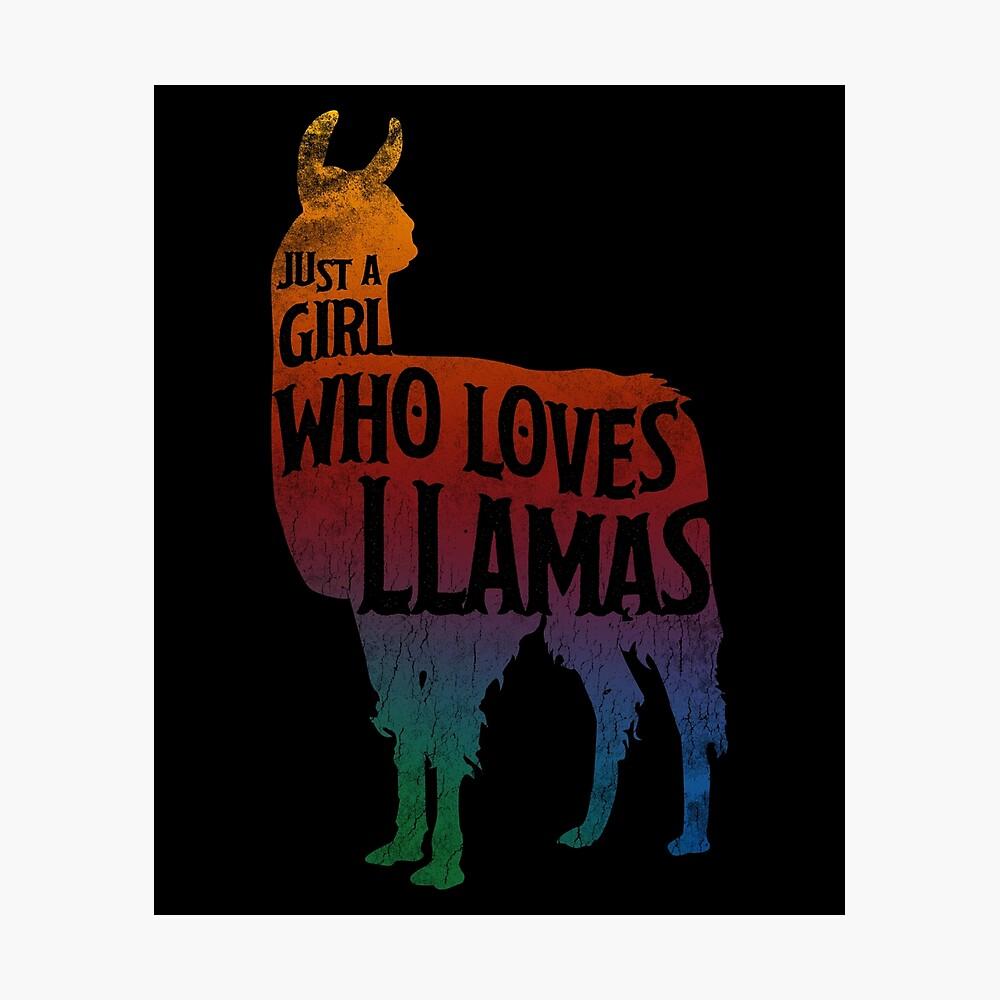 Mädchen, das Llamas, Lama-Liebhaber liebt Fotodruck