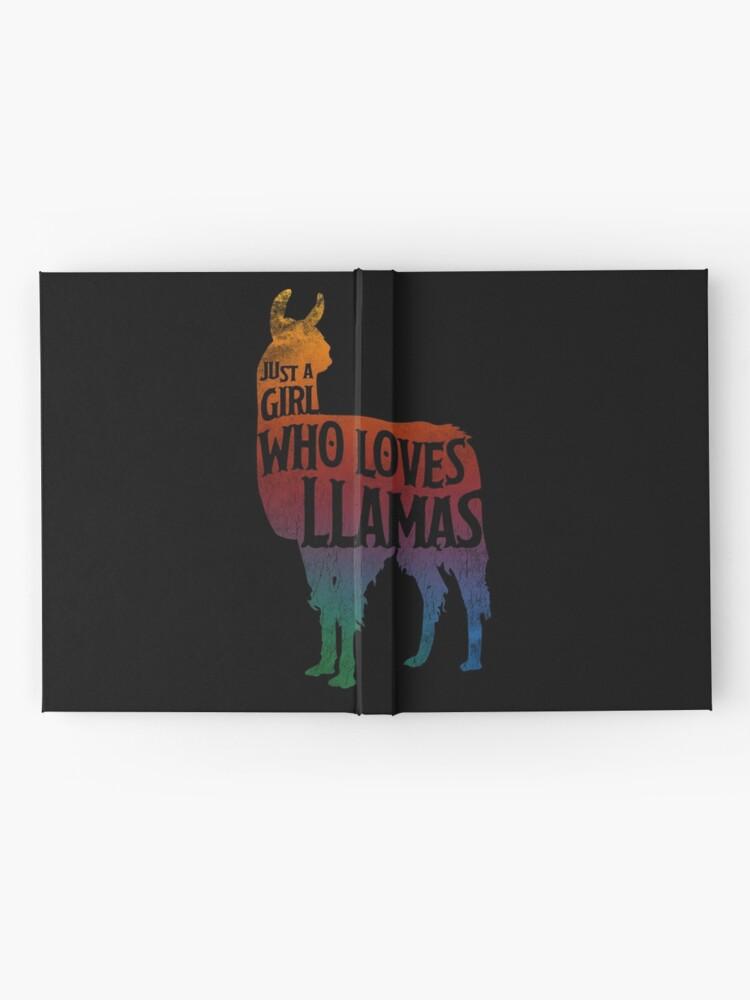 Alternative Ansicht von Mädchen, das Llamas, Lama-Liebhaber liebt Notizbuch