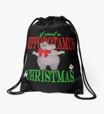 I want a Hippopotamus for Christmas Drawstring Bag