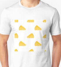Cheese Slices Seamless Pattern on White. Milk Product Background T-Shirt