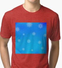White Snowflake Pattern on Blue. Christmas Blurred Background Tri-blend T-Shirt