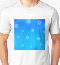 White Snowflake Pattern on Blue. Christmas Blurred Background T-Shirt